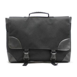 сумка портфель простой для ноутбука лептом без молнии черный экокожа спереди