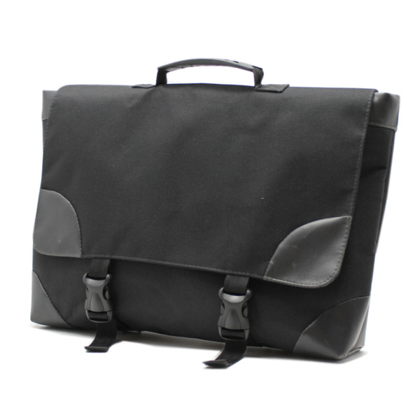 сумка портфель простой для ноутбука лептом без молнии черный экокожа сбоку