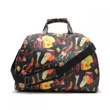 сумка фитнес самолет город небольшая дорожная принт коричневый сзади