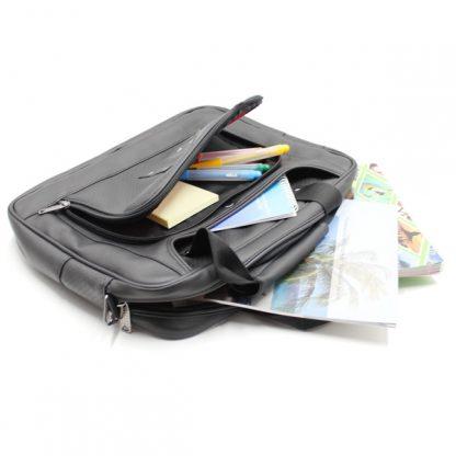 сумка портфель для ноутбука для бумаг черная промо реклама карман кожа экокожа сверху