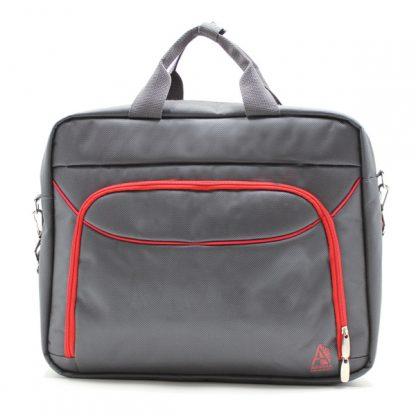 сумка портфель для ноутбука для бумаг деловая серая спереди