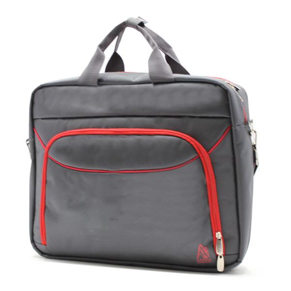 сумка портфель для ноутбука для бумаг деловая серая сбоку