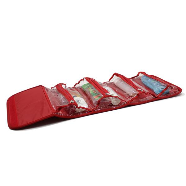 косметичка органайзер дорожная прозрачная красная внутри