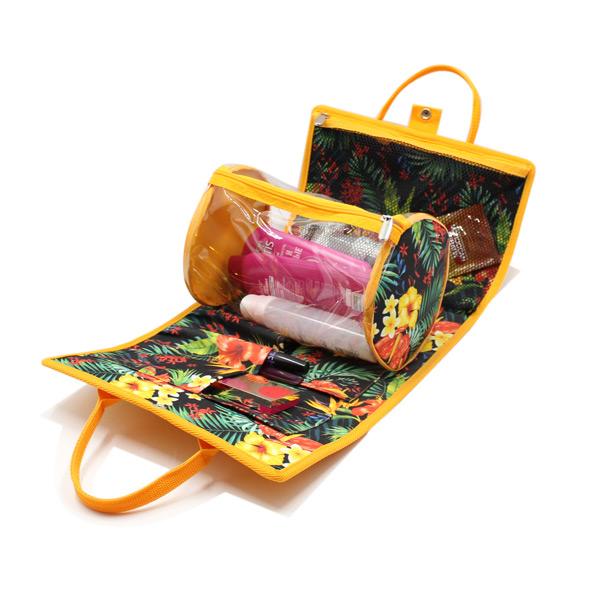 косметичка органайзер дорожная сетка желтый кругла внутри
