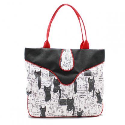 сумка дамская с котиками принт большая вместительная спереди
