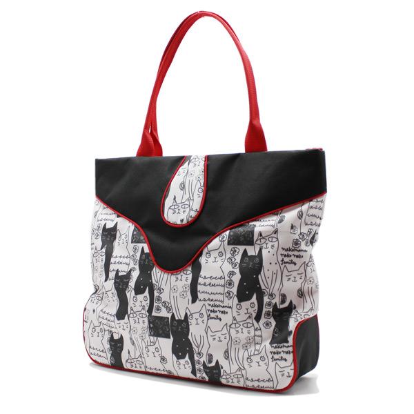 сумка дамская с котиками принт большая вместительная сбоку
