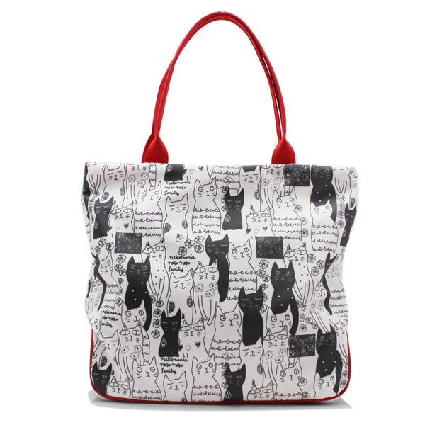 сумка дамская с котиками принт большая вместительная сзади