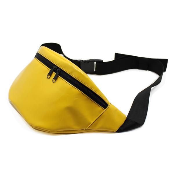 сумка поясная яркая желтая маленькая сбоку