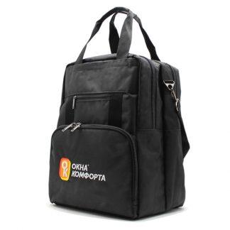 сумка рюкзак трансформер реклама ноутбук унисекс черный с ручками