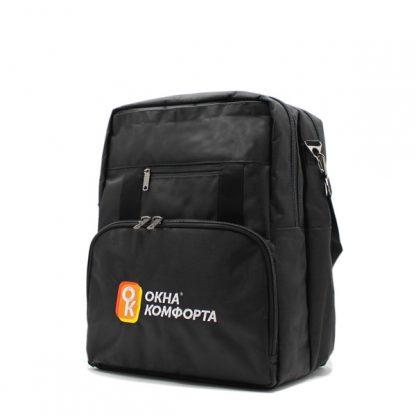 сумка рюкзак трансформер реклама ноутбук унисекс черный сбоку