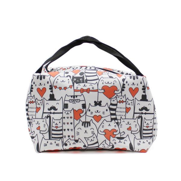 сумка для хранения косметичка небольшая принтованная котики спереди