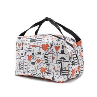 сумка для хранения косметичка небольшая принтованная котики сбоку