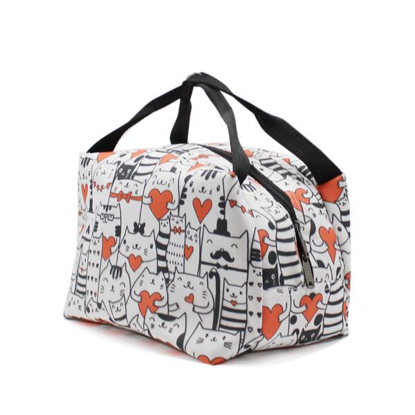 сумка для хранения косметичка небольшая принтованная котики сверху