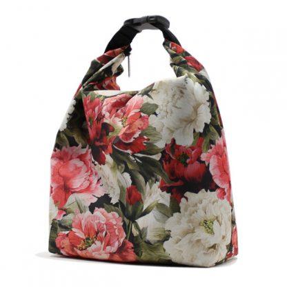 сумка холодильник маленькая для одного обеда цветы сбоку
