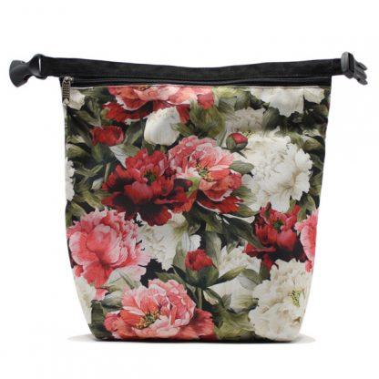 сумка холодильник маленькая для одного обеда цветы растёгнутая