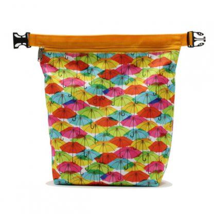 сумка косметичка комплект с ручкой цветная зонтики растёгнутая