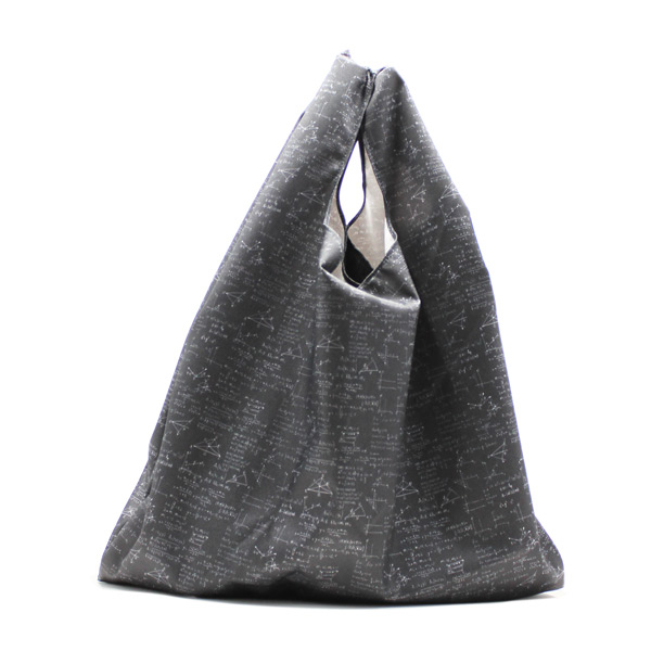 сумка пакет шоппер простая компактная прочная принтованная чёрная