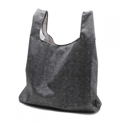 сумка пакет шоппер простая компактная прочная принтованная чёрная сбоку