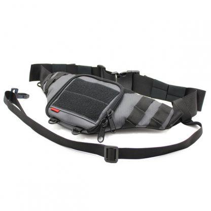 сумка поясная через плечо для пистолета для ружья серая спереди