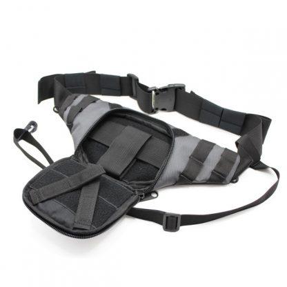 сумка поясная через плечо для пистолета для ружья серая внутри