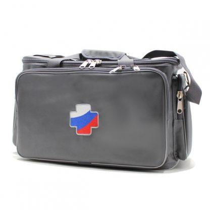 сумка для медицинского оборудования серая большая спереди сбоку