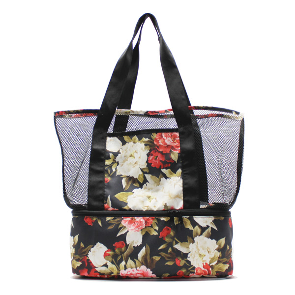 сумка пляжная из сетки со вторым дном спереди