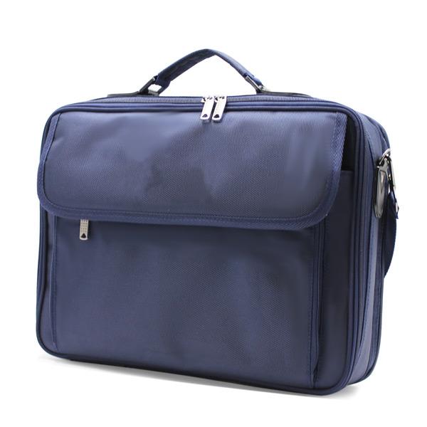 портфель деловой мужской для ноутбука синий деловой сбоку
