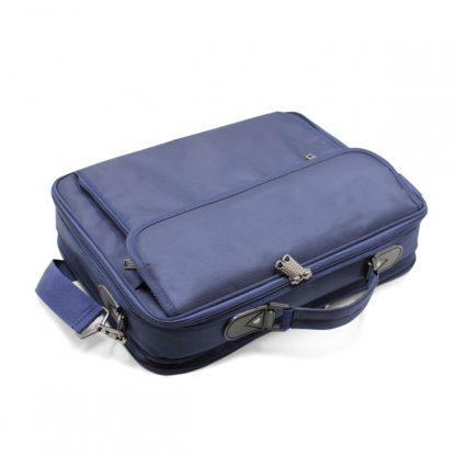 портфель деловой мужской для ноутбука синий деловой сверху