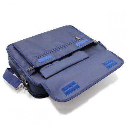 портфель деловой мужской для ноутбука синий деловой с клапаном
