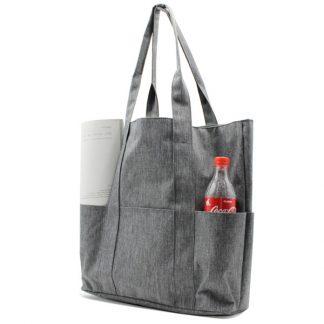 сумка пляжная городская с карманами серая женская с бутылкой