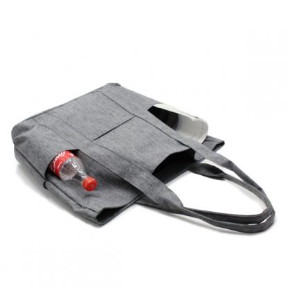 сумка пляжная городская с карманами серая женская пикник