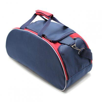 сумка спортивная для фитнеса синий белый красный сверху