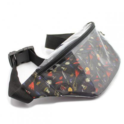 сумка на пояс прозрачная с принтом спереди