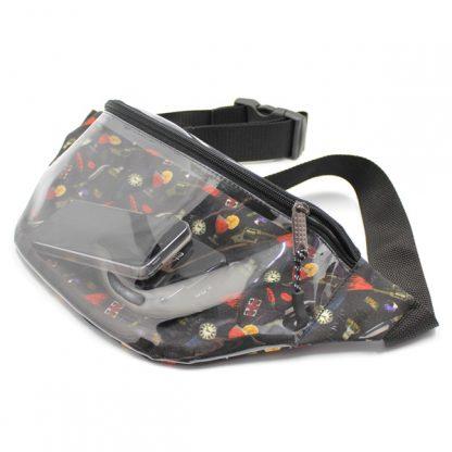 сумка на пояс прозрачная с принтом внутри