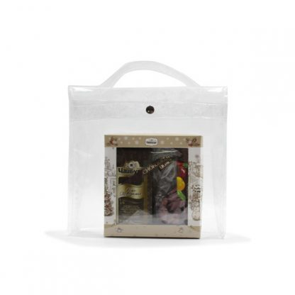 сумка из прозрачной плёнки для подарков спереди
