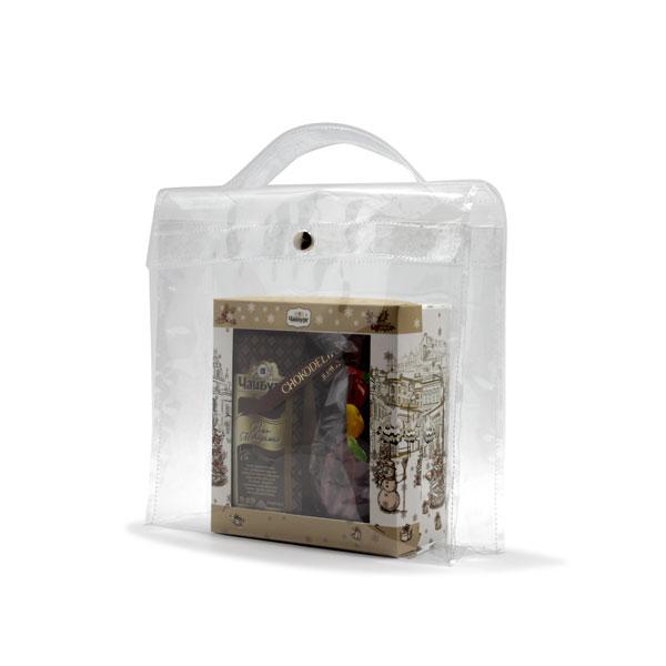 сумка из прозрачной плёнки для подарков сбоку