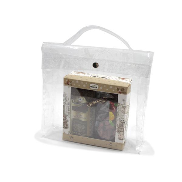 сумка из прозрачной плёнки для подарков с ручкой