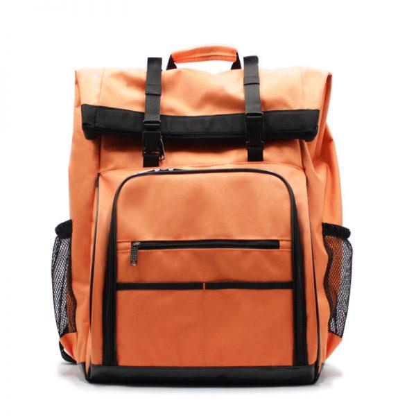 рюкзак-скрутка-большой максимальный для доставки и курьеров оранжевый спереди