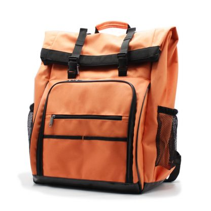 рюкзак-скрутка-большой максимальный для доставки и курьеров оранжевый сбоку