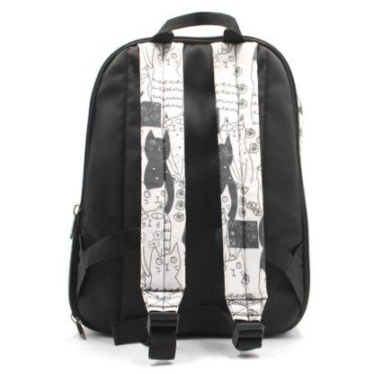 рюкзак с кошечками для ноутбука плотный R-32 отделение сзади