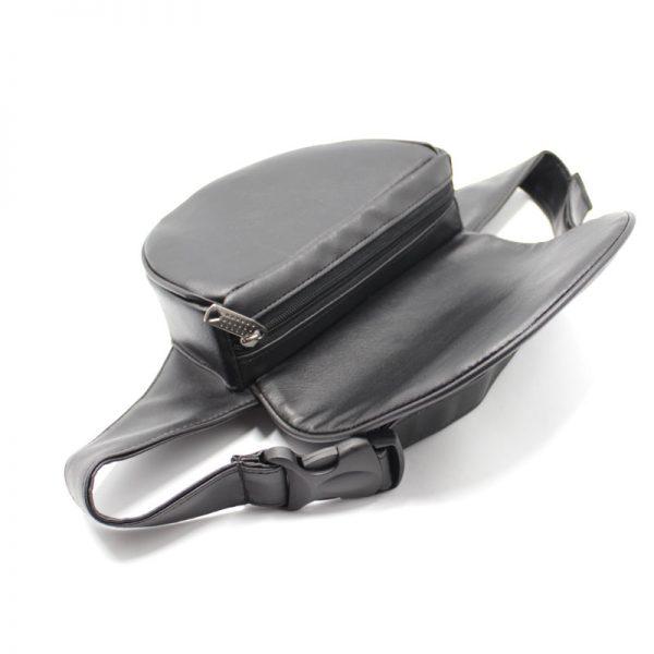 сумка поясная экокожа плотная кофр с клапаном чёрная молния