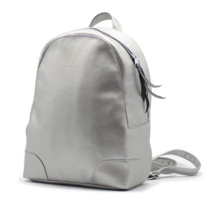 рюкзак женский маленький экокожа серебрянный сбоку