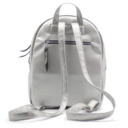рюкзак женский маленький экокожа серебрянный сзади