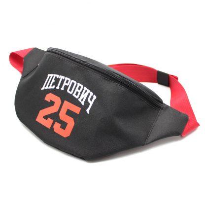 сумка поясная черная с логотипом и красной стропой спереди