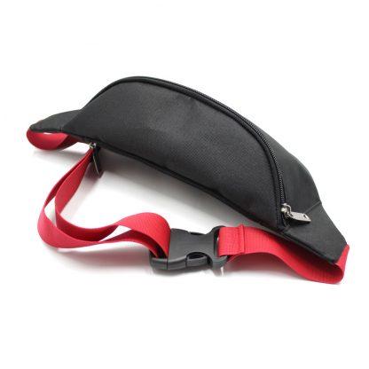 сумка поясная черная с логотипом и красной стропой сверху