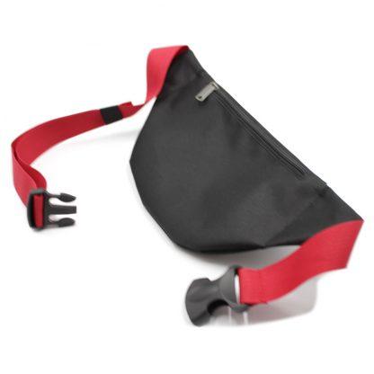 сумка поясная черная с логотипом и красной стропой сзади