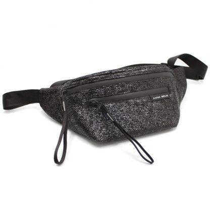 сумка поясная два отделения черная водонепроницаемая молния спереди