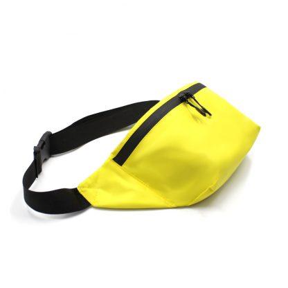 сумка поясная с карманом жёлтая сбоку