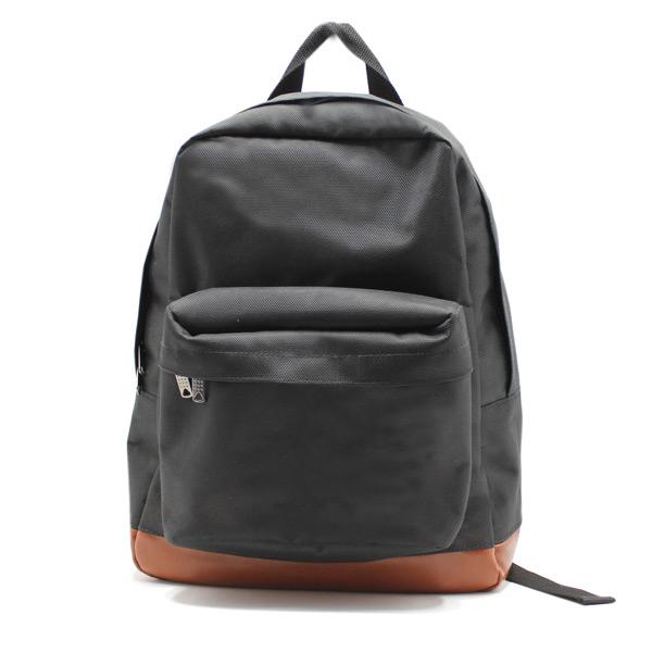 рюкзак повседневный городской мужской женский черный простой R-01 спереди