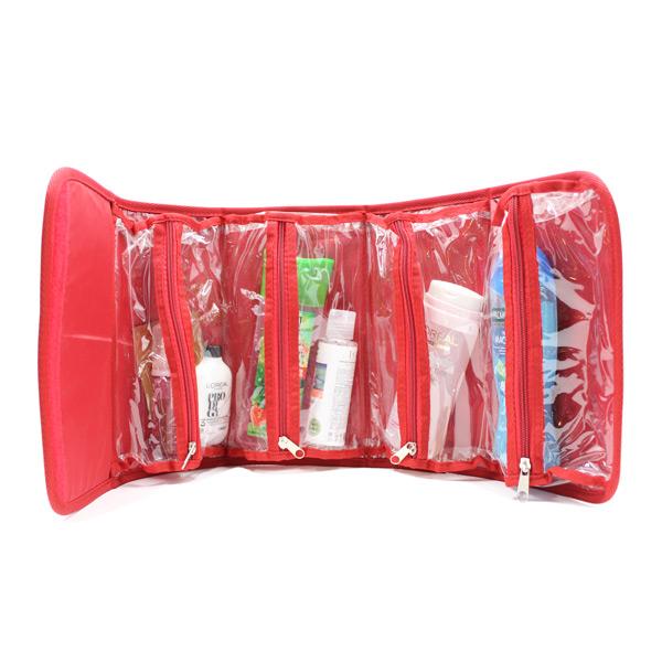 косметичка органайзер дорожная прозрачная красная карманы